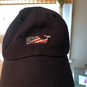 Vineyard Vines Navy American Flag Whale Hat
